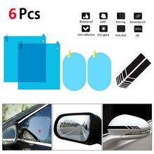 6Pcs Set Car Side Window Protective Film Anti Fog Membrane Anti-glare Waterproof Rainproof Car Stick