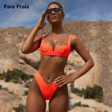Fluorescent Color Bikini Women High Waist Swimwear Push Up Bikini Set Swim Suit Bandeau Swimsuit Women Beachwear Bathing Suit