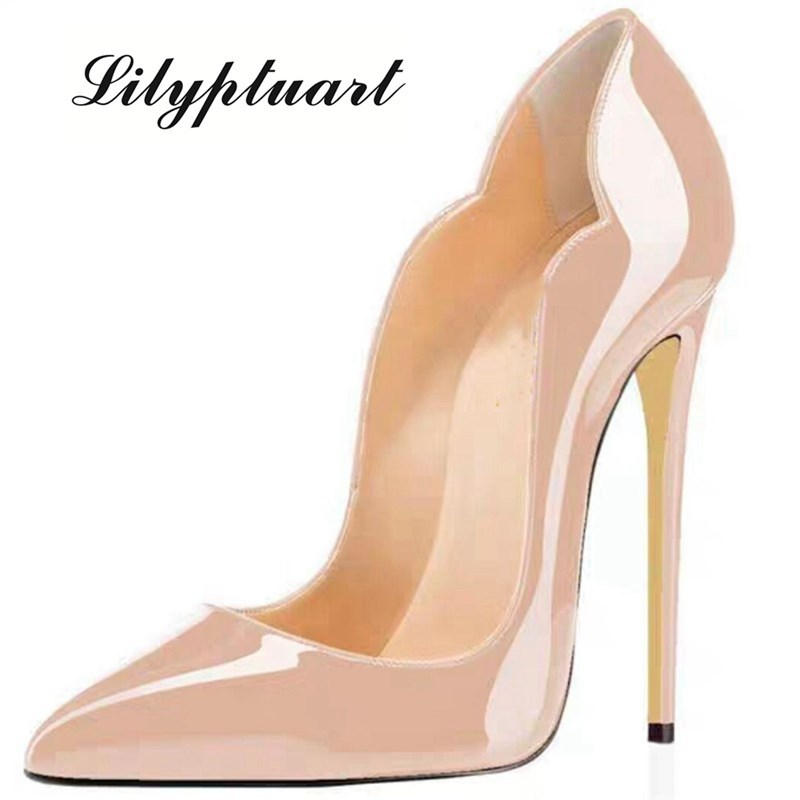 Woman Ladies Super Thin High Heels 12cm Pumps Pointed Toe Slip on Patent Leather Shallow Office Lady
