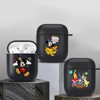disney mickey mouse cute case for airpods 1 2 earphone funda suitable black soft apple airpods 2 wireless bluetooth charging box
