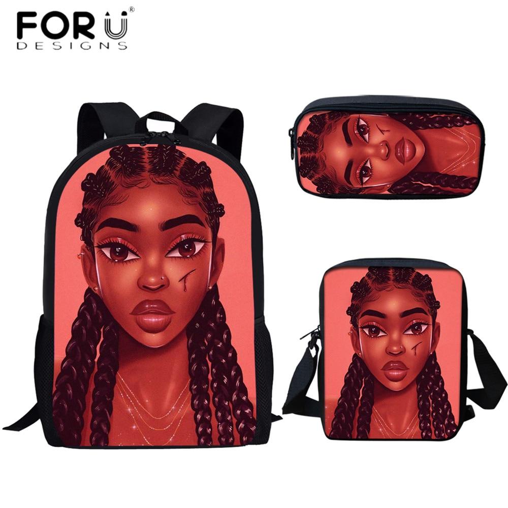 FORUDESIGNS Hot Selling School Bag Set 3pcs African Black Girls Printing Book Pencil Case for Girls Student Backpack Mochila