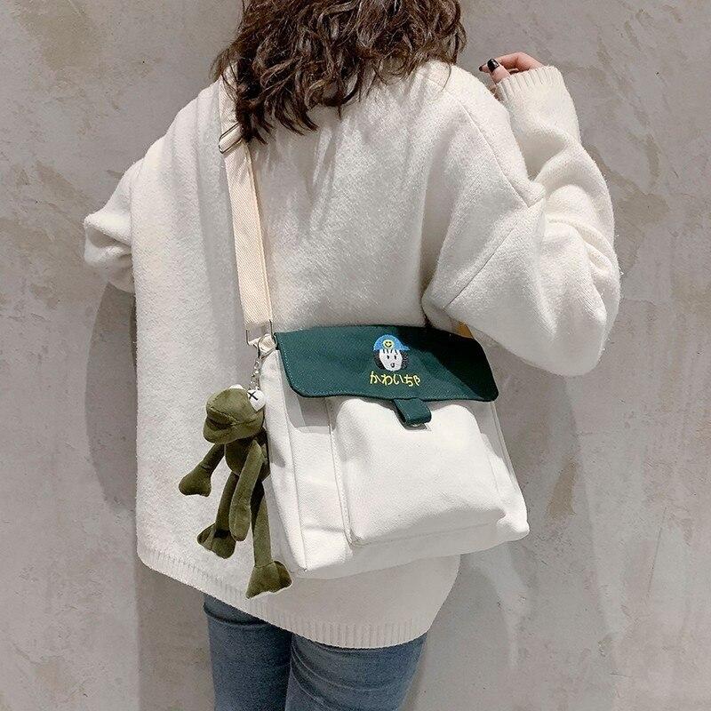 2019 spring and summer new trend canvas bag campus style student bag fashion shoulder bag casual wild messenger bag