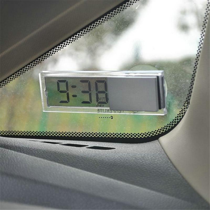 Mini Digital Car Electronic Clock High Quality Durable Transparent LCD Display Digital Watch With Su