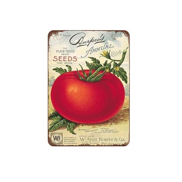 Семена томатов, семена обыкновенной травы, выращивание 1914, металлический жестяной знак 8x12 дюймов, домашняя кухня, фаст-фуд, бар, паб, Настенный декор