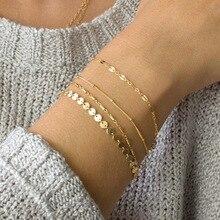 1 conjunto bohemia multicamadas pulseiras de ouro prata cor tubo laço satellite chain pulseiras para mulheres pé corrente jóias