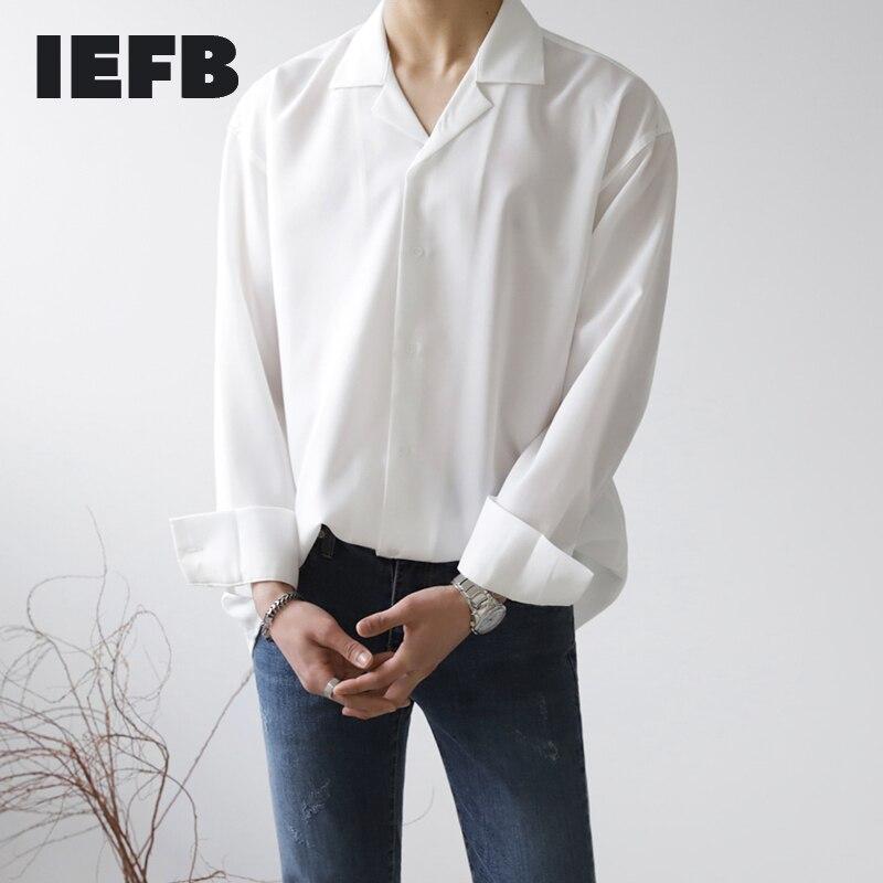 IEFB ملابس رجالية قميص الكورية بأكمام طويلة فضفاضة غير الكي الرجال قميص أبيض عصري وسيم الخريف كل مباراة بلوزات سوداء 9Y4084