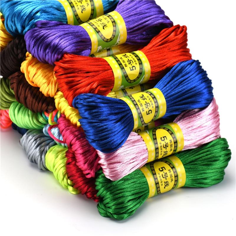 20m 2.5mm Mix Color Nylon  Black Rattail Satin Chinese Knotting Silk Macrame Cord Beading Braided Shamballa String Thread HK198