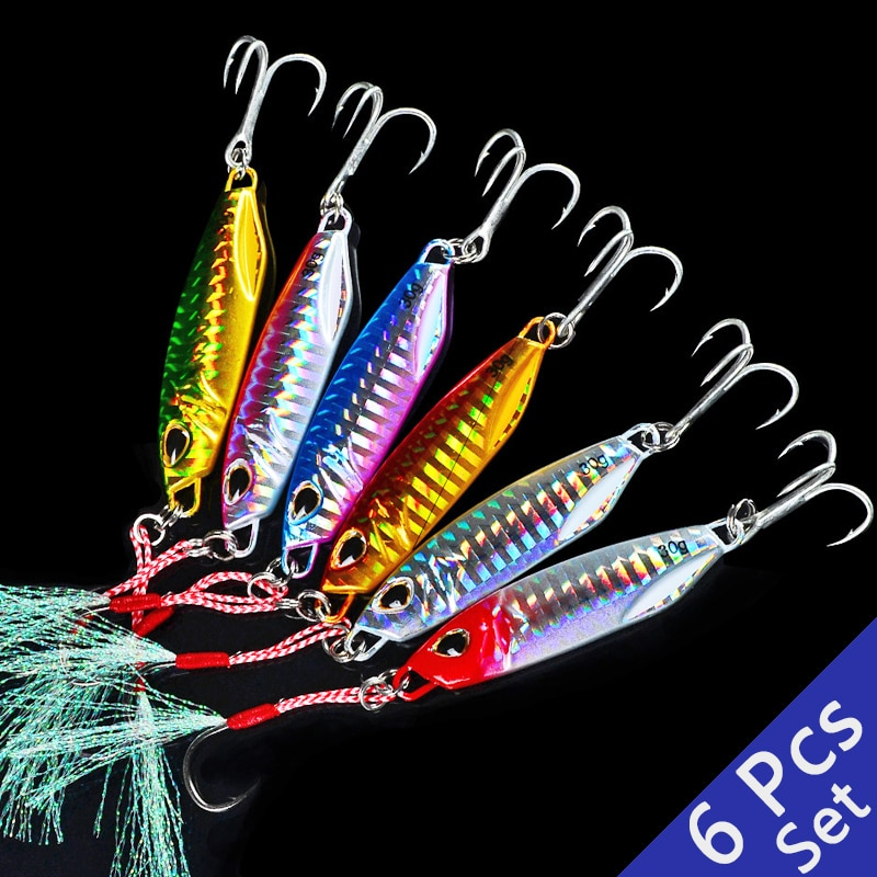 6 Pcs/lot New Cast Metal Bait Spinner Spoon Fishing Lures Jigs Trout Fishing Hard Baits Tackle Pesca Lead Fish Jigging Set bait