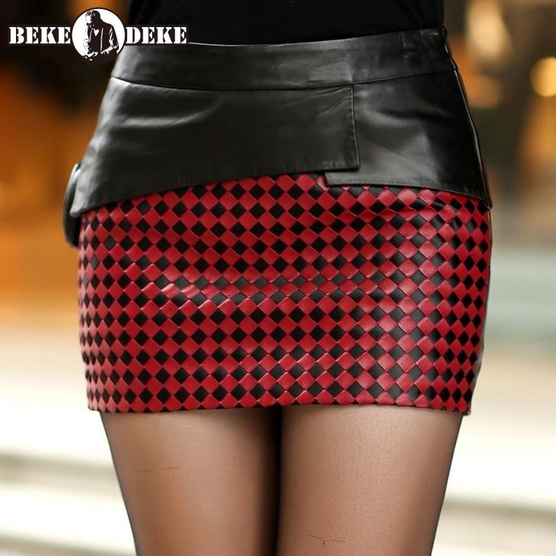Luxus Schaffell Wrap Kurze Röcke Frauen OL Stil Sexy Plaid Rock Streetwear Splice Weben A-Line Mini Röcke Weibliche Plus Größe