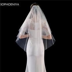 Moda corte borda duas camadas curto véu de noiva com pente véu de casamento 2020 velo welon slubny acessórios casamento voile mariage