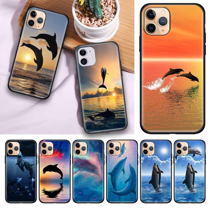 Funda de Tpu negra para Apple iPhone 11 11Pro Max XS X XR 7 8 6 6S Plus 5 5S SE2020, funda para jaulas con animales marinos y delfines