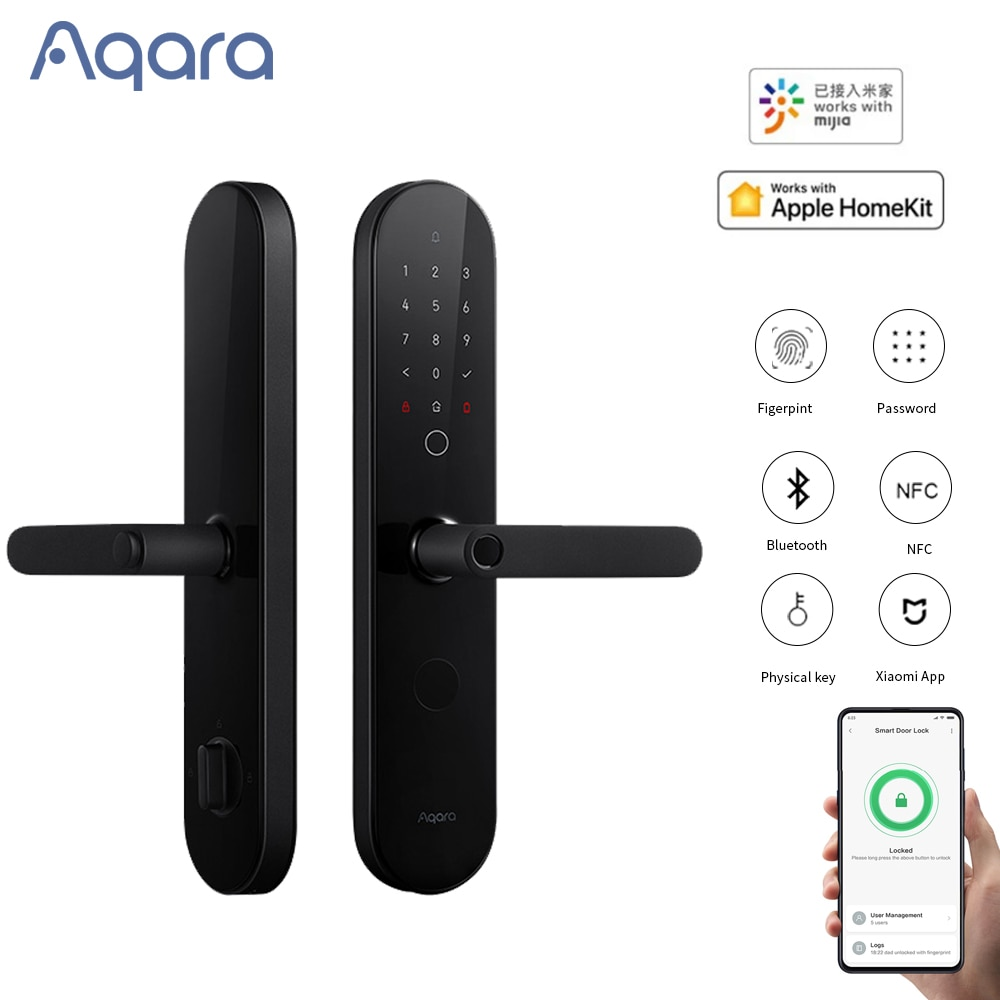 Promo 2021 New Aqara N100 Smart Door Lock Bluetooth Fingerprint NFC Password Unlock With Doorbel For Apple HomeKit Mijia Smart Linkage