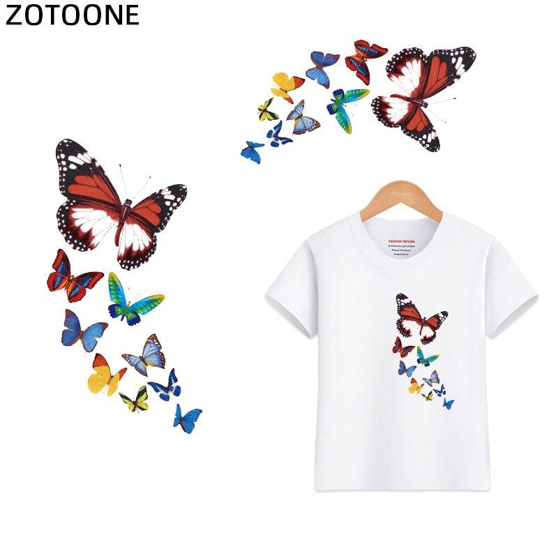 Zotoone borboleta ferro em transferência de calor carros dos desenhos animados flores meninas adesivos ferro em remendos para roupas t-shirts pant saco g
