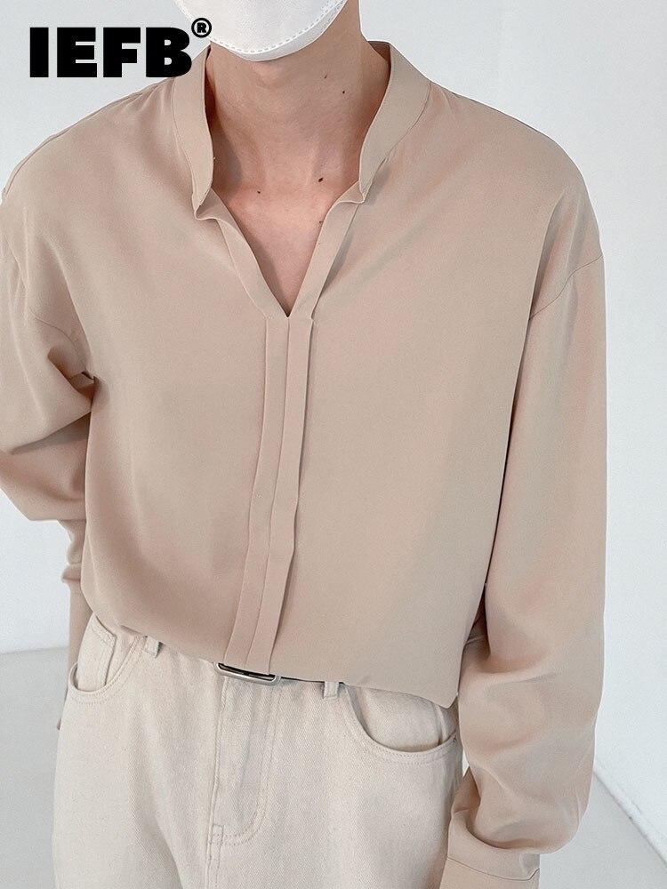 IEFB الوقوف طوق قميص الرجال بأكمام طويلة الخامس طوق بلوزة كاجوال قمصان الخريف الكورية الاتجاه فضفاض القمم 2021 جديد الرجال