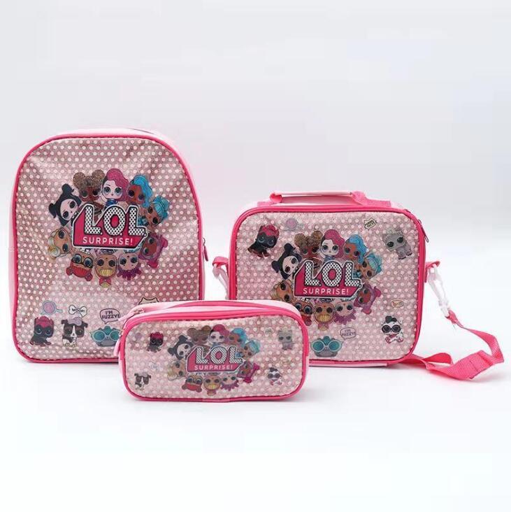 Conjunto de lápis de princesa 3 pçs lol, conjunto para meninas, bolsa de presente para estudantes da escola