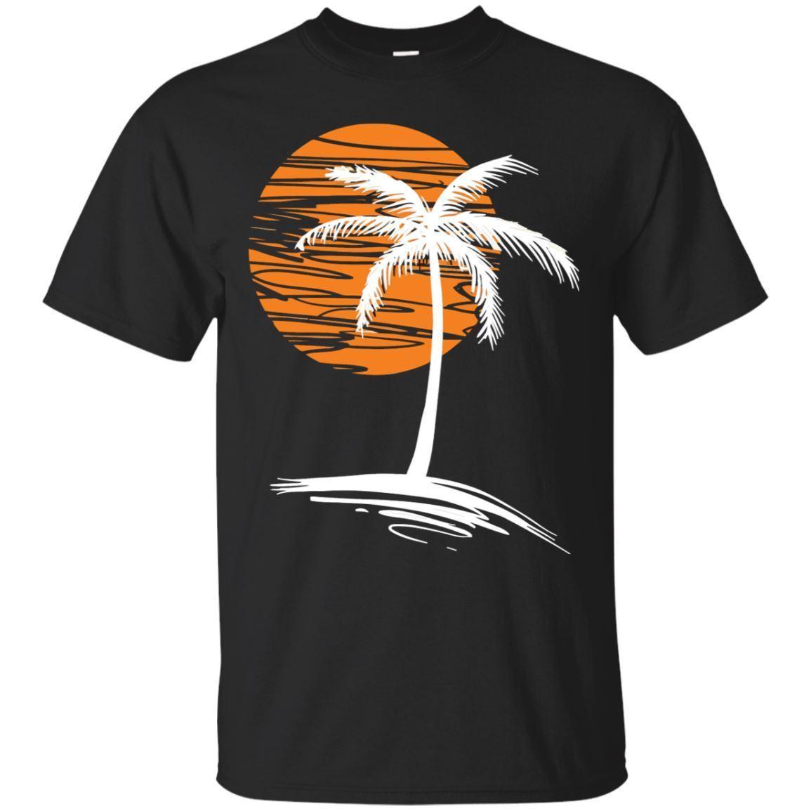 Palma puesta de sol árbol-Outrun Synthwave nuevo Retro Wave camiseta-negro, azul marino camiseta Cool Casual pride camiseta hombres Unisex moda