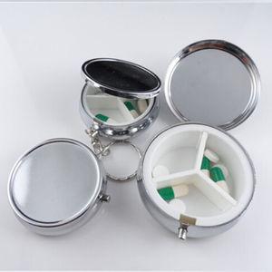 Металлический круглый серебристый контейнер для таблеток, удобный контейнер, чехол для лекарств, маленький чехол