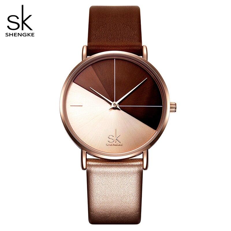 Shengke женские часы модные кожаные Наручные часы винтажные женские часы необычные часы Mujer Bayan Kol Saati Montre Feminino