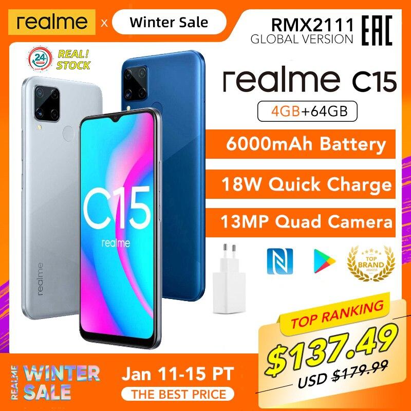 Realme C15 Globale Version 4GB RAM 64GB ROM Helio G35 6000mAh Batterie 13MP AI Quad Kameras Multi sprache Play Store