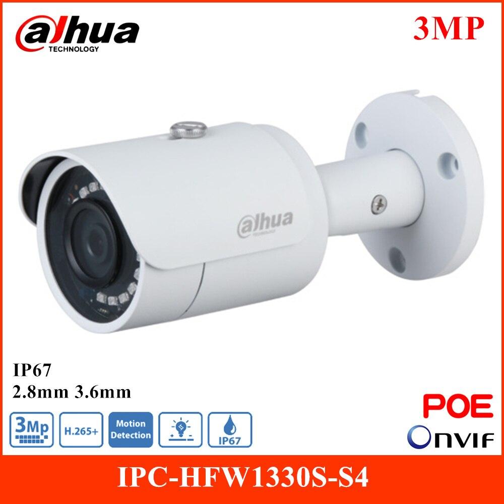 داهوا 3MP دخول IR IP كاميرا IPC-HFW1330S-S4 الذكية H.265 دوران وضع صورة الوجه 2.8 مللي متر 3.6 مللي متر عدسة ثابتة للماء POE كاميرا