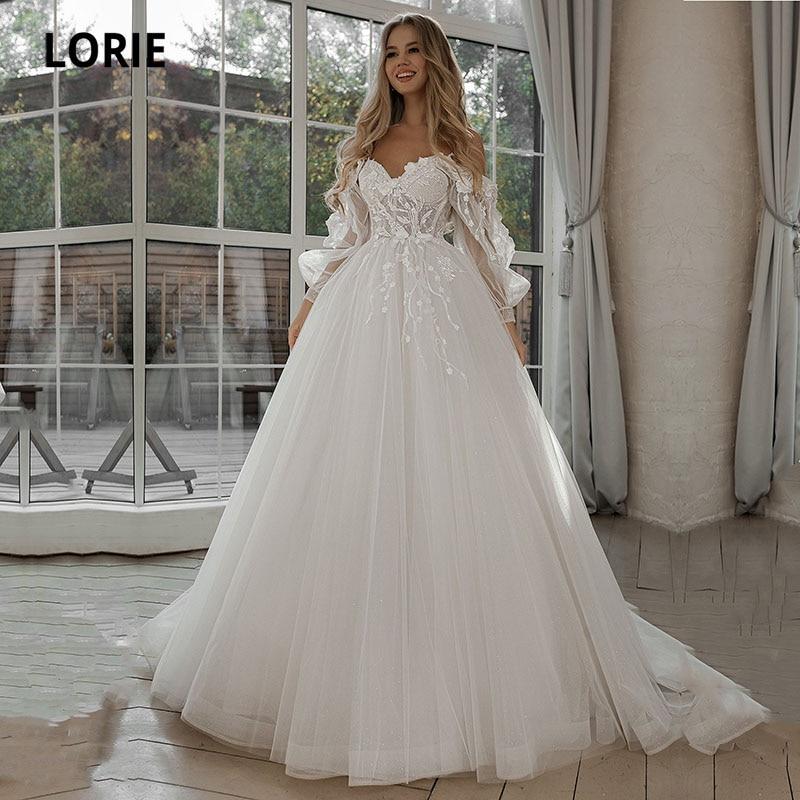 LORIE Glitter Wedding Dresses Puff Sleeve Appliques Lace 3D Flowers off Shoulder Tulle Boho Bride Gown 2021 vestidos de novia
