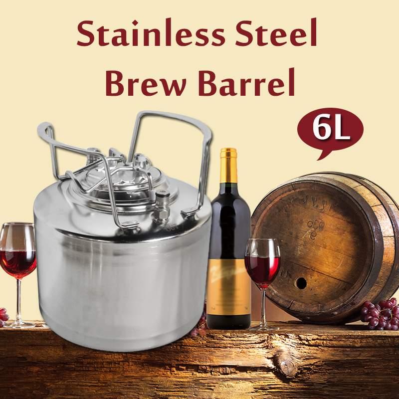 Eficiente cerrojo de bola de acero inoxidable 6L cerveza barril presurizado Growler para artesanal sistema dispensador de cerveza DIY Home Brew cerveza