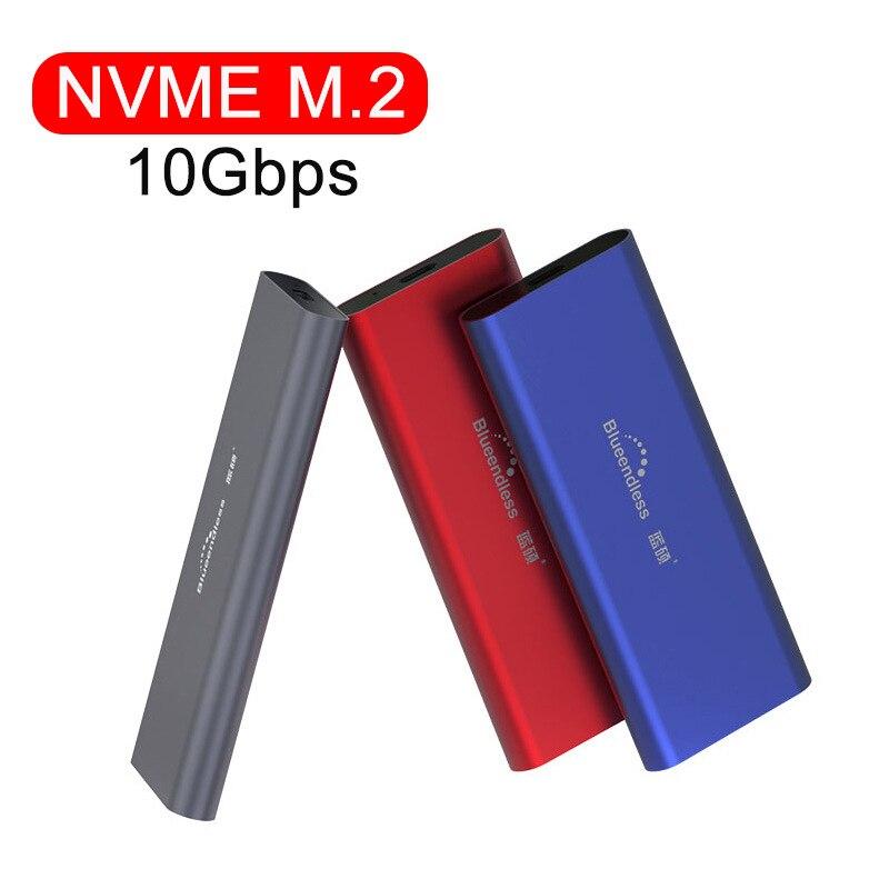 M2 SSD Case NVME SSD الضميمة M.2 إلى USB نوع C القرص الصلب الضميمة ل NVME PCIE NGFF SATA M/B مفتاح 2240/2280 SSD القرص