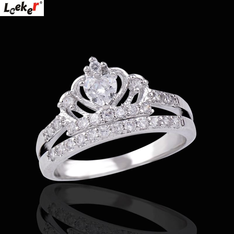 LEEKER 2 capas corona anillos para Boda nupcial de plata de cristal de Color anillo de compromiso para mujer joyería 033 LK8