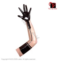 sexy long latex gloves with black trims rubber mittens gloves plus size st 044