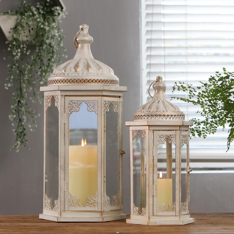 Portavelas de Metal de lujo a prueba de viento, portavelas nórdico grande de cristal, Velas para exteriores románticas, decoración del hogar JJZT