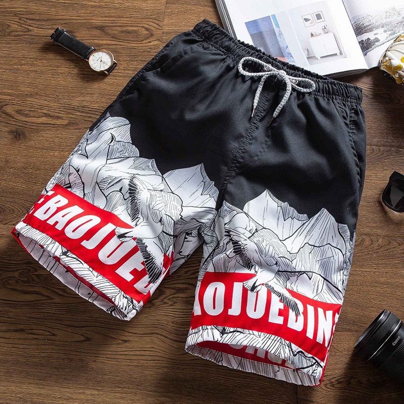 Summer New Casual Shorts Men Beach Breathable Quick Dry Loose Shorts Men's Fashion Hawaii Print Shor