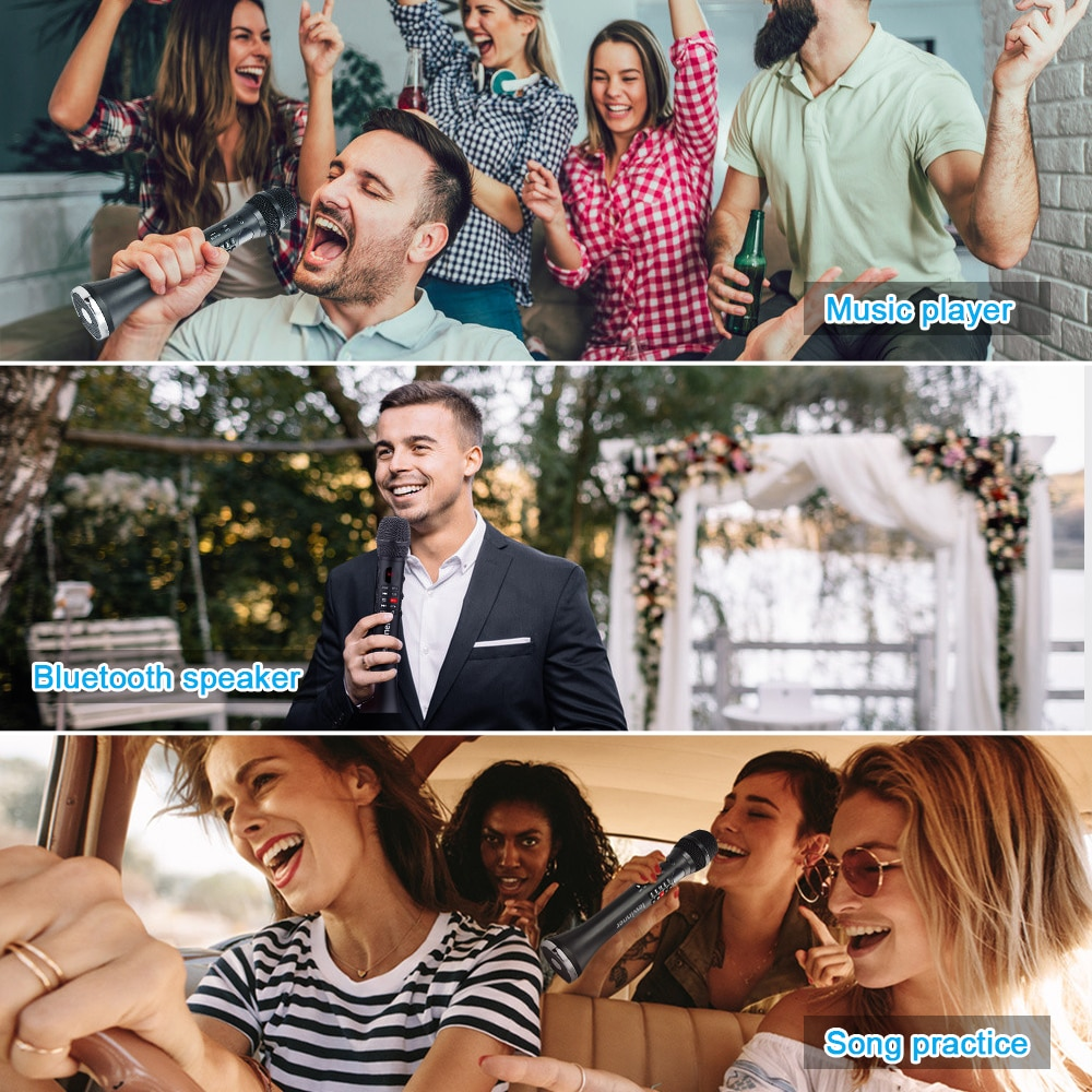 Lewinner L-699 Professional Karaoke Microphone Wireless Speaker Portable Bluetooth microphone for phone support record TF play enlarge