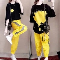womens summer plus size korean version loose feature short sleeved nine point pants two piece womens trousers suit
