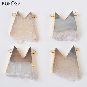 BOROSA Cute M Shape Natural Agates Druzy Connectors for Necklaces Making 24inch Gold Druzy Necklaces for Women Gifts G2003
