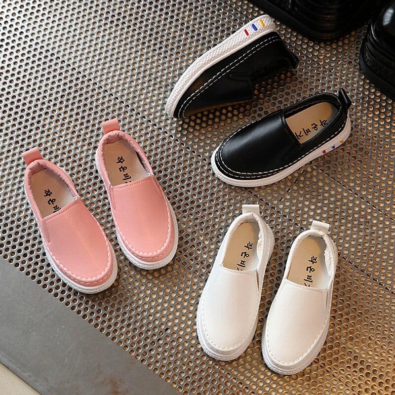 Kids Girls Boys White Pink Black Sneakers For Big Boy Girl Children School PU Leather Walking Sports Shoes Shoe New 2020 Autumn