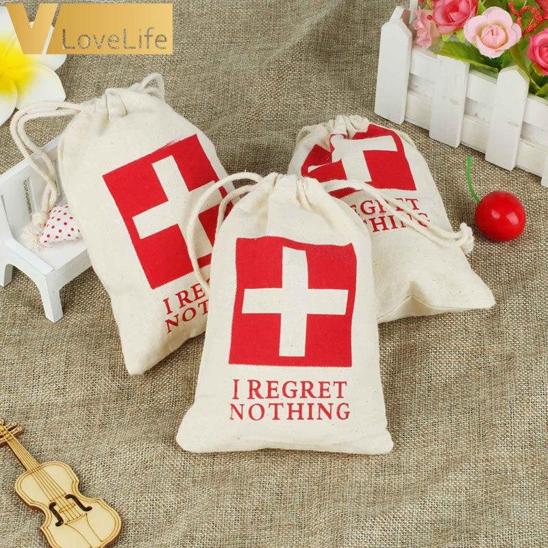 12 Uds., bolsa de algodón para Kit de resaca para despedida de soltera, 10cm x 15cm, bolsas para recuerdos de boda, no lamento nada, suministros de decoración para fiestas
