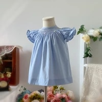 baby girls smocked dress toddler handmade smock clothes for children boutique vestidos infant girl embroidery dresses and pants
