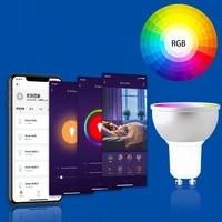 Zigbee     ampoule LED connectee 3 0  Tuya  Gu10  5W  RGBCW  SmartThings  application de commande vocale  fonctionne avec Alexa Echo Google Home