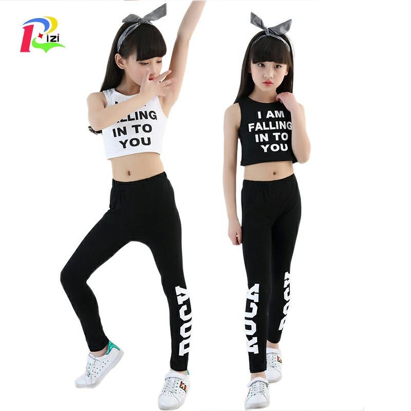 Rizi 4 6 8 10 12 14 Years Kids Letter Crop Tank Tops Legging Two Pieces Set For Girls Summer Style Teenage Girl Ramadan Clothing