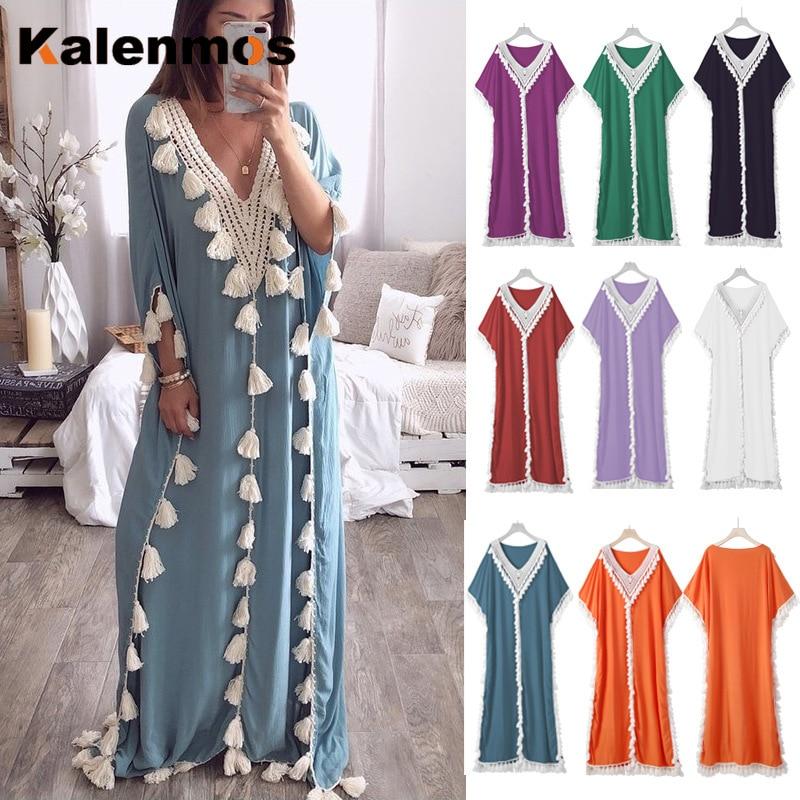 Dubai Turkey Muslim Abaya Dress Women Boho Summer Tassel Moroccan Kaftan Sundress Islamic Clothing Plus Size Ropa Long Robes