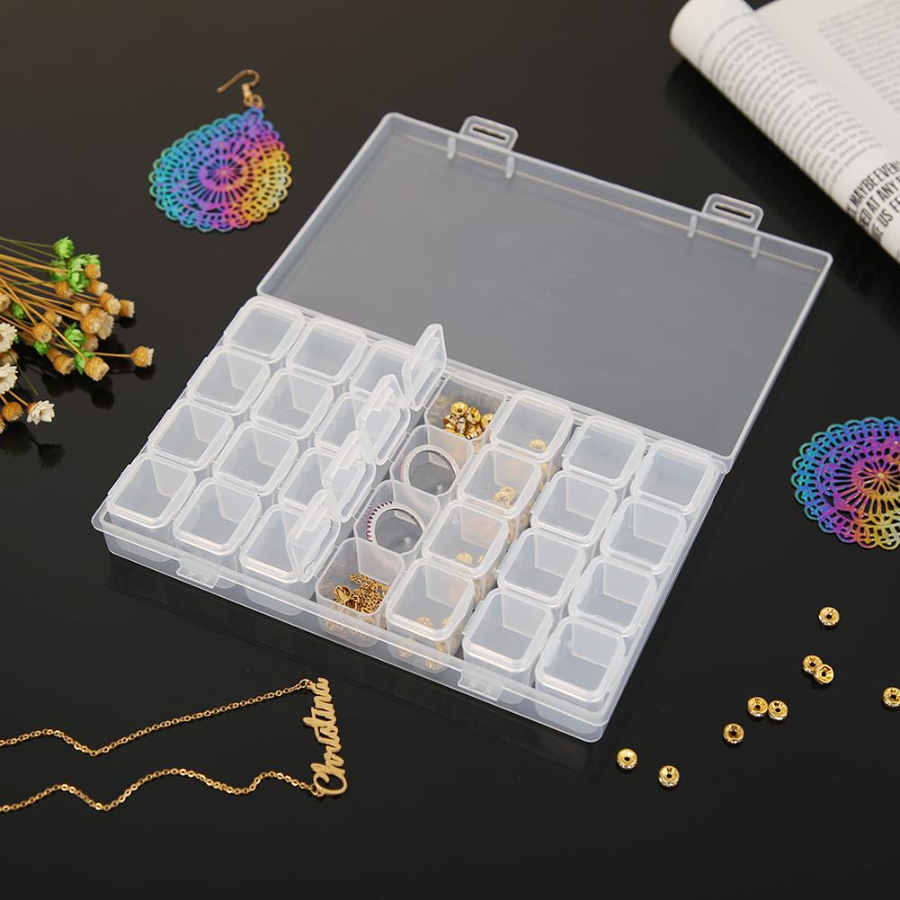28 Lattices Storage Box Transparent Container Diamond Painting Accessories Storage Box for Store Earrings Necklaces Rings Pills