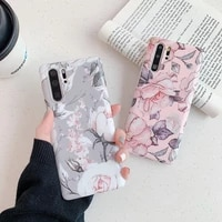 retro matte rubber flower floral shockproof imd case for huawei p20 30 40 pro mate2030 pro soft silicone phone cover skin