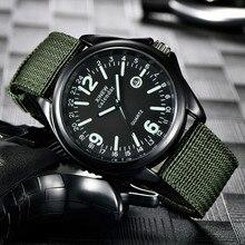 Военные мужские часы, нейлоновый ремешок, нержавеющая сталь, водонепроницаемые мужские часы, кварцевые армейские часы, черный циферблат, дата, роскошные спортивные наручные часы