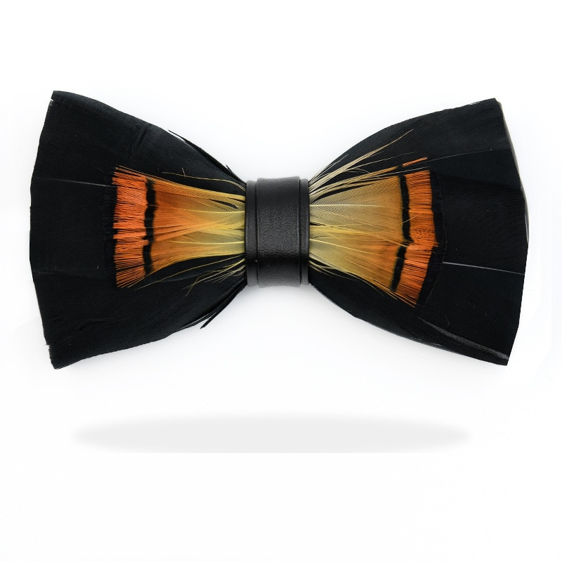 Unique Original Black Feather Bow Tie Natural Hand Made Bowtie With Gift Box For Men Business Party Wedding