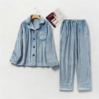 2021 autumn winter warm flannel women pyjamas sets thick coral velvet long sleeve solid sleepwear thick flannel pajamas set