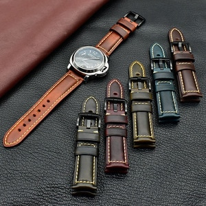 100% genuineHigh-quality leather band for 18/20/22/24/26mm watch band Oil wax leather strap for men and ladies 22mm watch strap