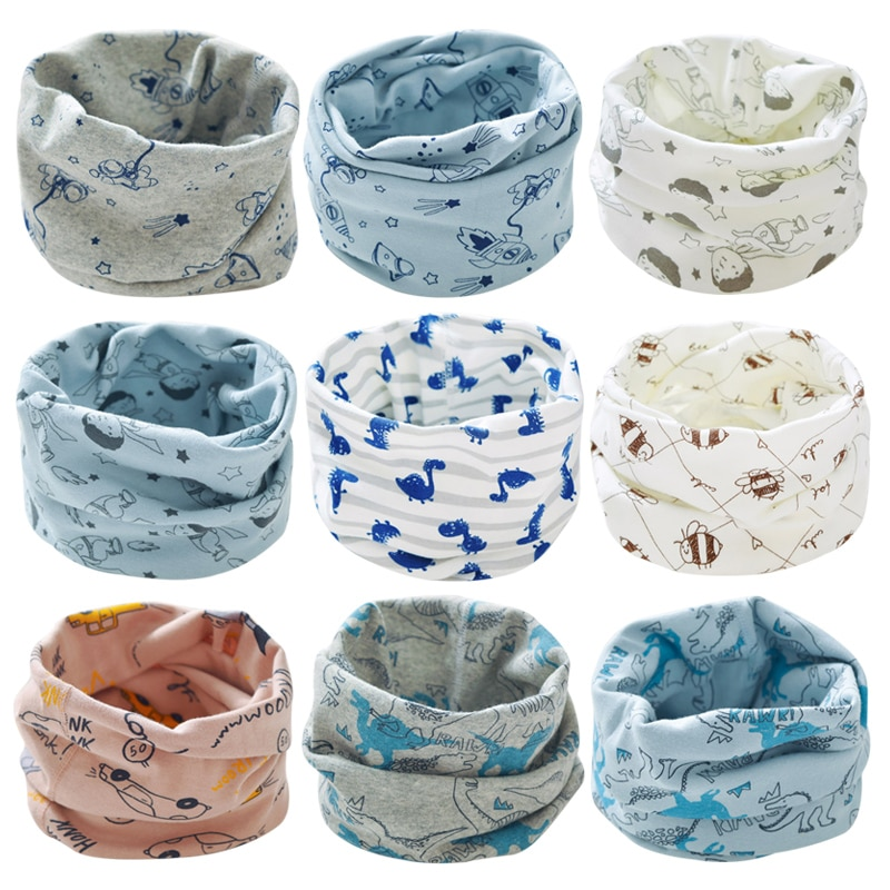 Children's Cotton Scarf New Autumn Winter Warm Scarf Baby Boys Girls O Ring Collar Flower Print Scarves Baby Clothing Accessorie