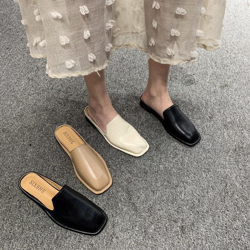 Zapatillas SLHJC de punta cuadrada para mujer, zapatillas de tacón plano de estilo inglés, zapatillas informales para vacaciones, deslizantes exteriores, zapatos planos acogedores