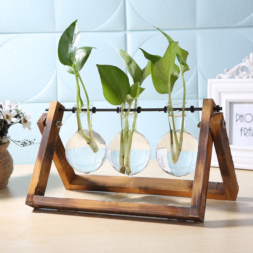 Meja terarium kaca dan kayu penanam meja hidroponik desktop tanaman bunga bonsai pot gantung dengan dulang kayu untuk hiasan rumah