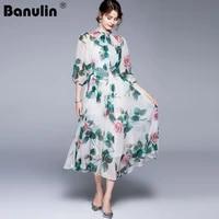 banulin 2021 summer runway beach boho chiffon dress womens bow collar lantern sleeve floral print holiday pleated midi dress